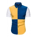 Popular Mens Short Sleeve Point Collar Button Down Color Block Curved Hem Slim Fit Shirt in Blue