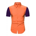 Casual Guys Short Sleeve Point Collar Button Up Color Block Curved Hem Slim Fit Orange Shirt