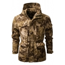 Athletic Mens Long Sleeve Hooded Zipper Front Flap Pockets Camo Pattern Gathered Waist Fit Outdoor Cargo Jacket