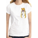 Simple Daily Womens Short Sleeve Crew Neck Cartoon Pocket Pattern Regular Fit Tee Top in White