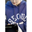 Popular Blue Long Sleeve Drawstring Letter SEOUL Print Contrasted Sherpa Lined Loose Fit Hoodie for Women