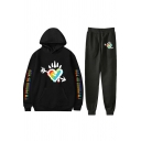 Casual Womens Long Sleeve Drawstring Colorful Letter Heart Graphic Loose Hoodie & Long Cuffed Relaxed Sweatpants Two Piece Set