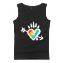 Guys Summer Sleeveless Round Neck Cartoon Heart Lip Flower Letter Printed Relaxed Fit Tank Top