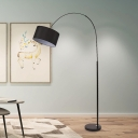 Drum Fabric Floor Reading Lamp Modern 1 Head Black Overarching Floor Lamp with Marble Base