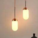 Capsule Multi Light Pendant Post Modern White Glass 2 Lights Copper Hanging Lamp Kit