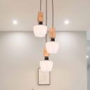 Tulip Dining Room Pendant Lighting White Glass 3 Bulbs Modernist Wood Multiple Hanging Lamp