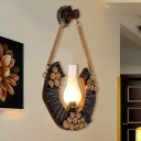 1 Bulb Wall Hanging Light Vintage Vase Shade Clear Glass Wall Mounted Lighting with Wood Circular Design