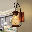Lantern Bedroom Wall Lighting Ideas Industrial Frosted Glass 1-Light Copper Sconce Light Fixture with Swirl Arm