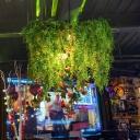 Metal Green Chandelier Light Fixture Wire Cage 3 Bulbs Industrial Plant Drop Lamp for Restaurant