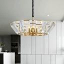Crystal Block Drum Chandelier Lighting Modernism 5-Light Gold Finish Pendant for Living Room