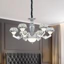 Chrome 6/8-Light Chandelier Lighting Modernism Crystal Diamond LED Hanging Pendant Lamp