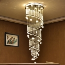 Spiral Clear Crystal Bead Pendant Contemporary 4-Light Stairway LED Multi Ceiling Lamp