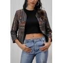 Vintage Fancy Girls Long Sleeve Collarless Open Front Tribal Stripe Printed Slim Fit Crop Jacket in Brown