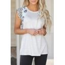 Womens Casual Short Sleeve Round Neck Leopard Print Patched Loose T-Shirt