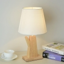 1 Head Conical Night Light Simple White Fabric Table Lamp with Kettle Wood Base for Bedside