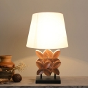 Resin Pedals Night Lamp Country Style Single Hotel Table Lighting with Cone Fabric Shade in White