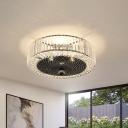 Black 4/5 Lights Flush Mount Lighting Simple Faceted Crystal Drum Ceiling Flush for Bedroom