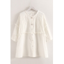 Fancy Girls Three-Quarter Sleeve Collarless Button Down Pleated Stringy Selvedge Relaxed Fit Blouse Top in White