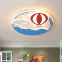 Blue Hot Air Balloon Ceiling Light Contemporary Acrylic Round Shaped LED Flush Mount with Cloud Design for Bedroom