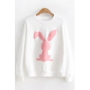 Girls Fashionable Long Sleeve Crew Neck Rabbit Printed Relaxed Pullover Sweatshirt