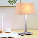 Fabric Flaxen Night Stand Light Pagoda 1 Head Minimalist Table Lamp with Straight Stainless Steel Stand