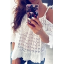 Pretty Ladies White Bell Sleeves Cold Shoulder Bow Tie Ruffled Lace Trim Hollow Out Loose Blouse Top