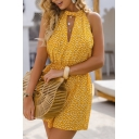 Pretty Ladies Yellow Sleeveless Crew Neck Cut Out Ditsy Floral Printed Relaxed Fit Romper