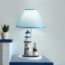Fabric Cone Table Lighting Mediterranean Style 1 Light White/Blue Night Lamp with Lighthouse and Boy/Girl Deco