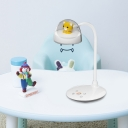 White Arc Reading Book Light Cartoon LED Plastic Nightstand Lamp with Small Bear Deco