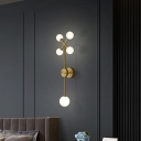 5 Bulbs Bedside Sconce Light Postmodern Gold Wall Mount Lamp with Branchlet Ivory Glass Shade