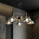 Smoke Grey/Amber Glass Dome Chandelier Modern 5-Light Black and Brass Hanging Light with Grip