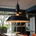 1 Bulb Barn Pendant Ceiling Light Vintage Black Finish Metal Suspension Lamp with Cage
