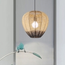 Rattan Weaving Balloon Pendant Lamp Chinese Style Single Wood-Black Hanging Ceiling Light