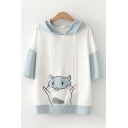 Fancy Cute Womens Three-Quarter Sleeve Hooded Drawstring Mouse Printed Color Block Relaxed T-Shirt