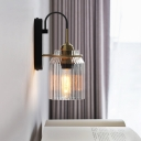 Mug Shaped Bedside Wall Light Retro Ribbed Glass 1 Bulb Black Sconce Lighting with Arched Arm