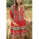 Ethnic Pretty Ladies Short Sleeve V-Neck Button Up All Over Floral Printed Relaxed Fit Romper