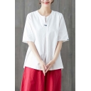 Casual Womens Short Sleeve Round Neck Patched Embroidery Slit Pleated Linen Relaxed Fit T Shirt