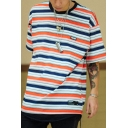 Vintage Colorful Stripe Pattern Short Sleeve Crew Neck Label Panel Loose T-Shirt for Guys