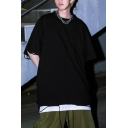 Streetwear Guys Half Sleeves Dropped Shoulder Crew Neck Ripped Solid Color Oversize Tee Top