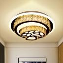 LED Flushmount Lighting Contemporary Square/Loving Heart/Mushroom Beveled Crystal Flush Mount Lamp Fixture in Chrome