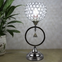 1-Light Night Table Light Modernism Bedroom Night Lamp with Globe Cut Crystal Shade in Silver