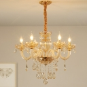 Amber Glass Candelabra Chandelier Retro 6 Heads Living Room Hanging Pendant Light in Gold with Crystal Drape