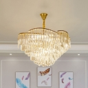 5-Bulb Crystal Prism Pendant Chandelier Vintage Brass Cone Parlor Ceiling Suspension Lamp