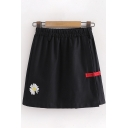 Womens Stylish Daisy Floral Embroidery Frog Button Elastic Waist Mini A-Line Skirt