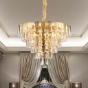 Gold 8-Bulb Chandelier Light Traditionalist Triangle Crystal Tapered Pendant Lighting Fixture