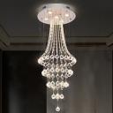 5-Head Multi Ring Flush Light Modernism Chrome Crystal Ball Flush Mount Recessed Lighting