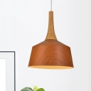 Aluminum Barn Shade Suspension Lamp Loft Style 1 Light Living Room Ceiling Pendant in White/Beige/Coffee with Wood Grip
