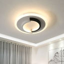 Dual Semicircle Flushmount Lighting Minimalist Metallic White and Black LED Flush Mount Fixture in Warm/White Light
