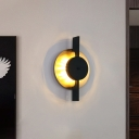 Round Bedside Sconce Lighting Metallic LED Postmodern Wall Mounted Lamp in Black and Gold