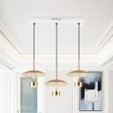 Flat Dome Multi Ceiling Light Post Modern Metallic 3-Head Gold LED Linear Pendulum Lamp